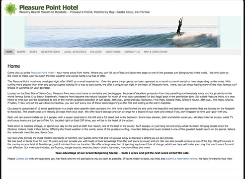 Pleasure Point Hotel - Weekly Beach Vacation Rentals – Pleasure Point, Monterey Bay, Santa Cruz, California