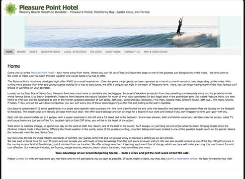 Pleasure Point Hotel - Weekly Beach Vacation Rentals – Pleasure Point, Monterey Bay, Santa Cruz, California